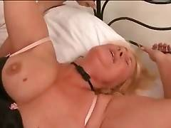 Slutty older blonde is fond of getting her hole pounded.