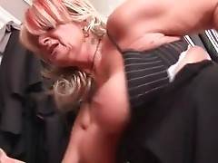 Big boobed grandma is fond of fucking with tough young stud.