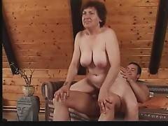Horny dude attacks granny`s mouth with his erect dong.