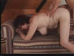 Craving tough man works his boner inside granny`s pussy.