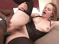 Turned on toned black guy pounds white granny`s hairy love hole.