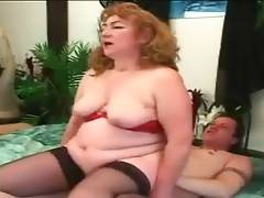 Fleshy old slut knows well how to please horny dude.