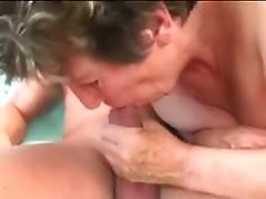 Nasty granny does her best to pleasure her younger lover.