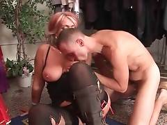 Tough fellow shoves his boner into slutty lady`s welcome hole.